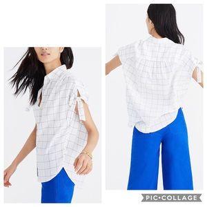 Madewell Central Tie-sleeve Shirt in Windowpane
